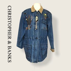 CHRISTOPHER & BANKS | embroidery jean barn jacket
